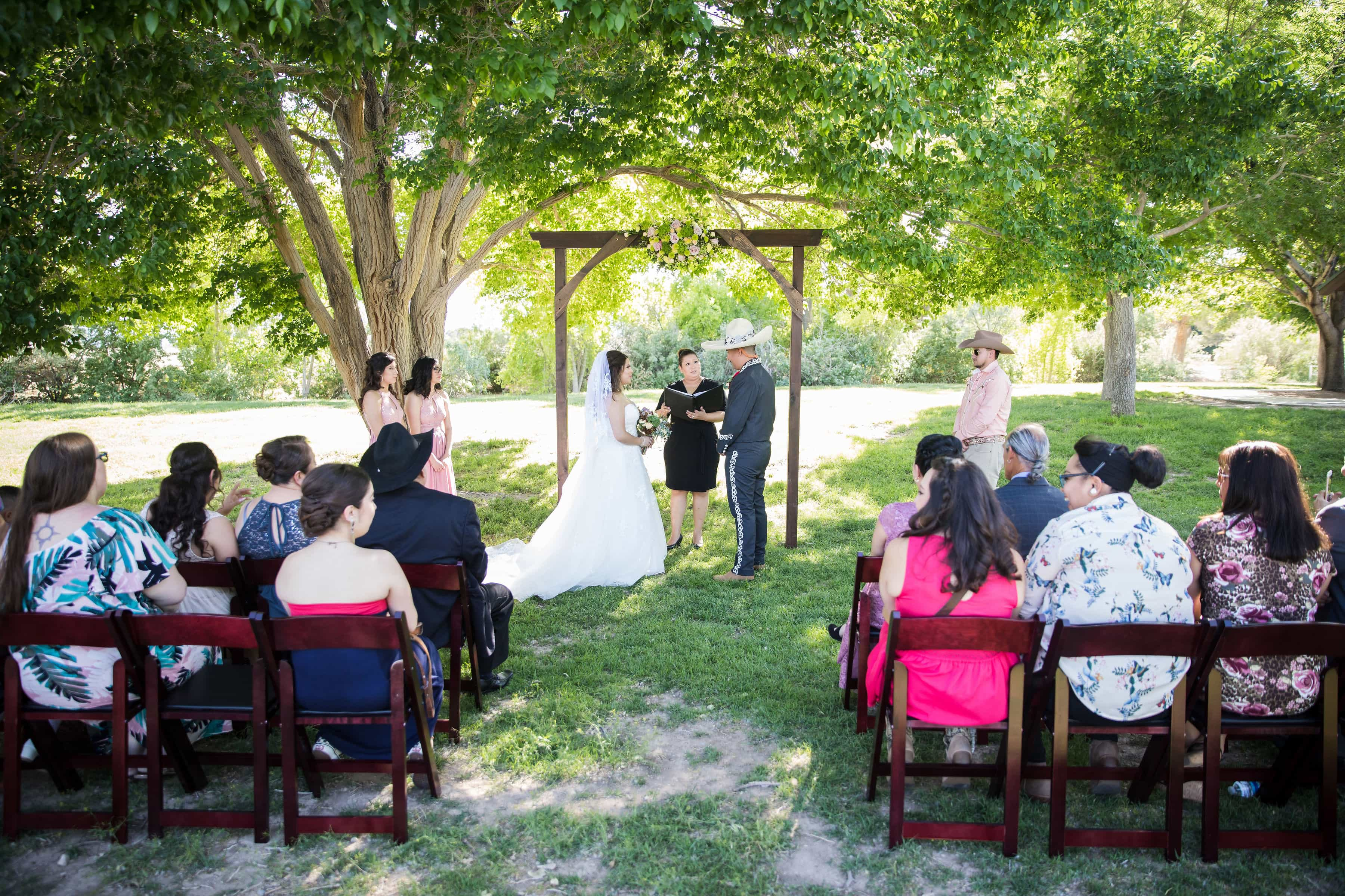 Bride, groom and guests at a Las Vegas wedding in Floyd Lamb Park.