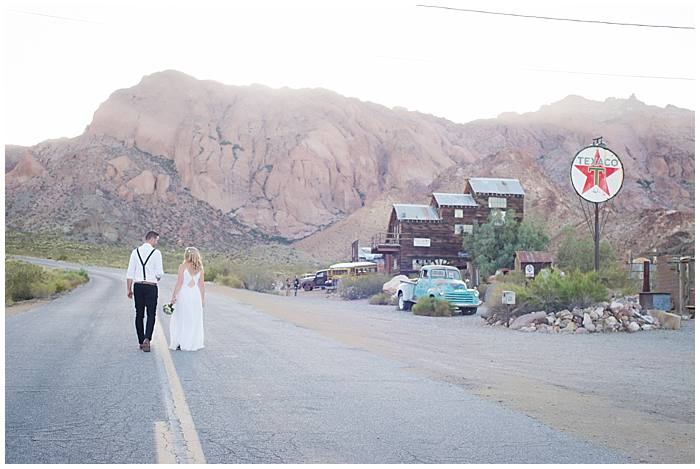 Eldorado Canyon - Bride + Groom Walking Down the Middle of an Old Back Country Road