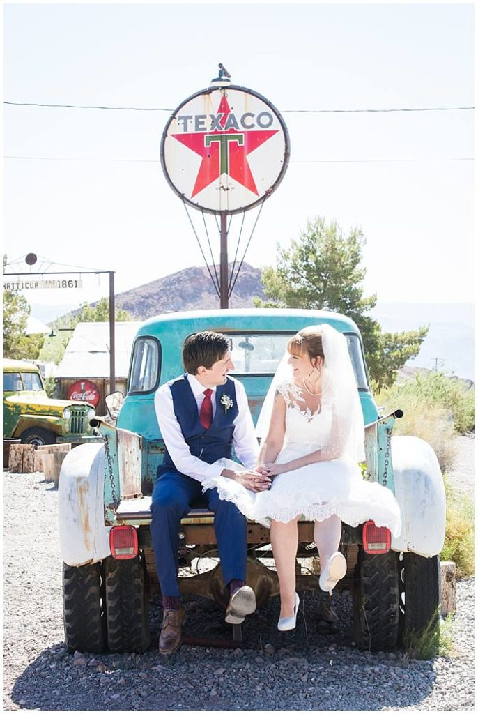 Eldorado Canyon - Bride + Groom Sitting in the Back of an Antique Truck