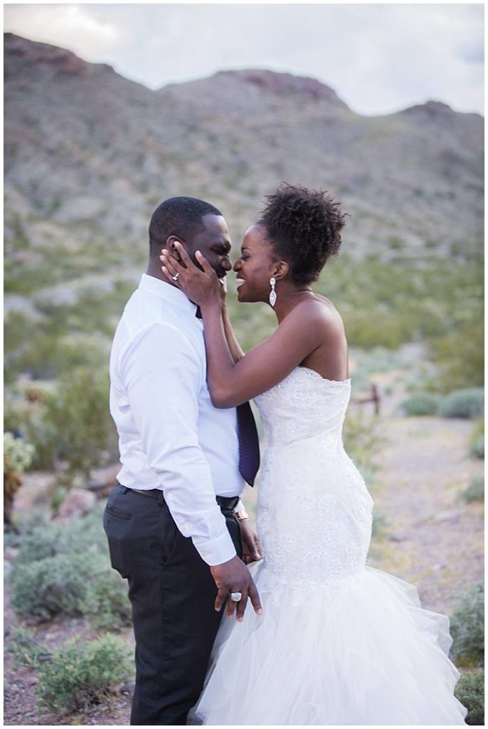 Eldorado Canyon - Bride + Groom Kissing in Mountain Background