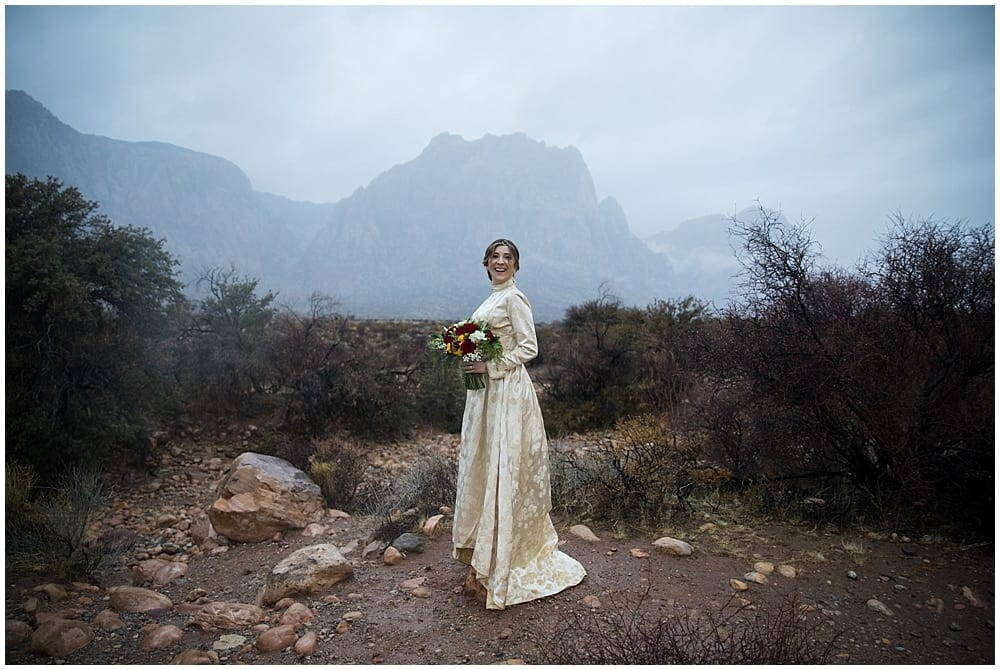 Joyful bride standing in a misty mountain derert landscape.