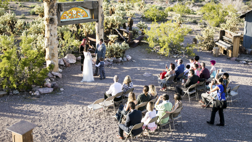 Aerial view of wedding ceremony