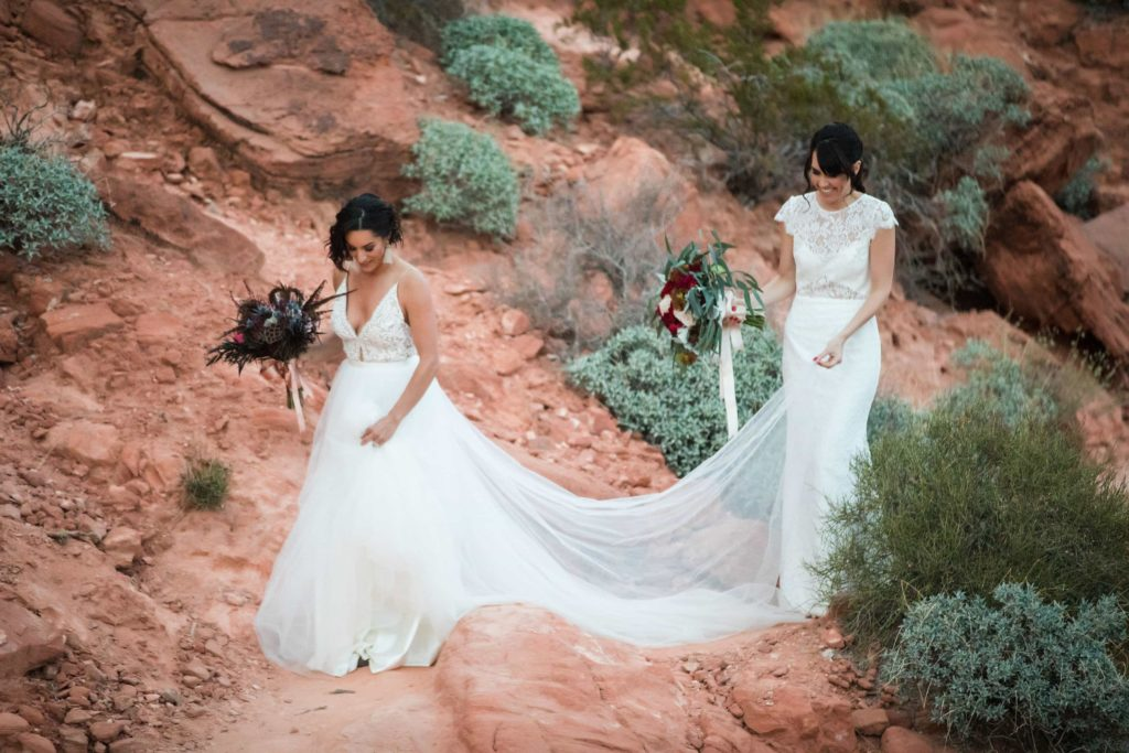 Two brides walking through the Valley of Fire State Park landscape.