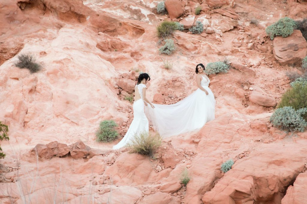 Two brides walk along the Valley of Fire landscape.