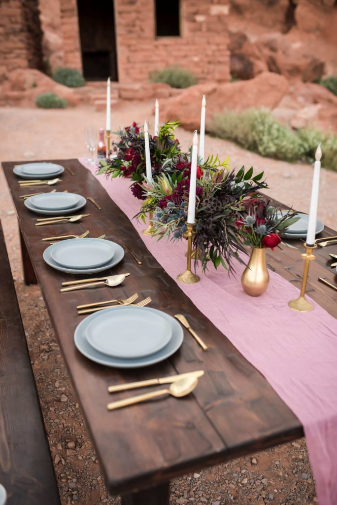 Reception table at the Valley of Fire.