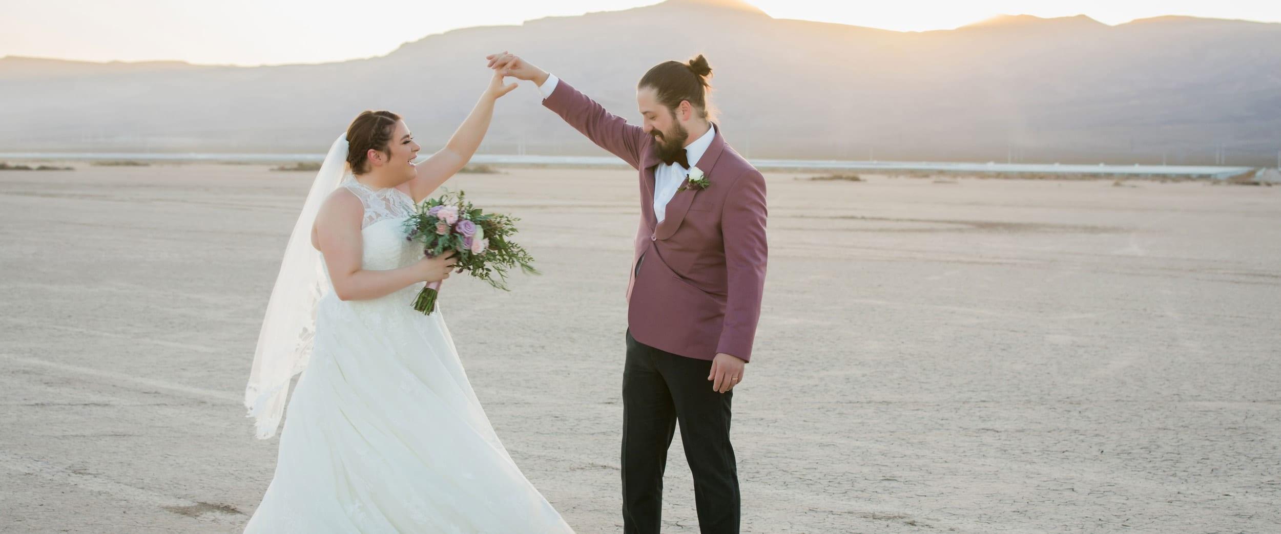 Bride and groom dancing in the Dry Lake Bed in Las Vegas.