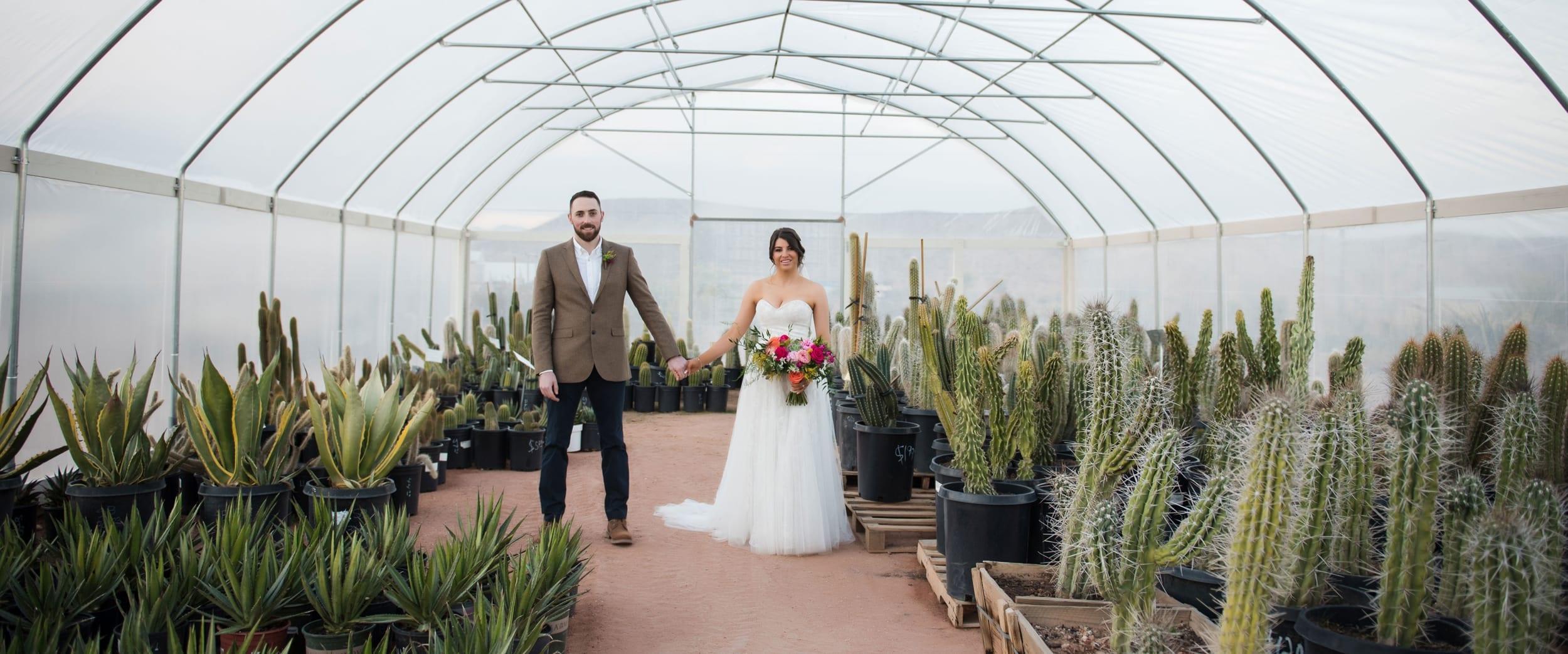 Bride and groom pose in a cactus garden.