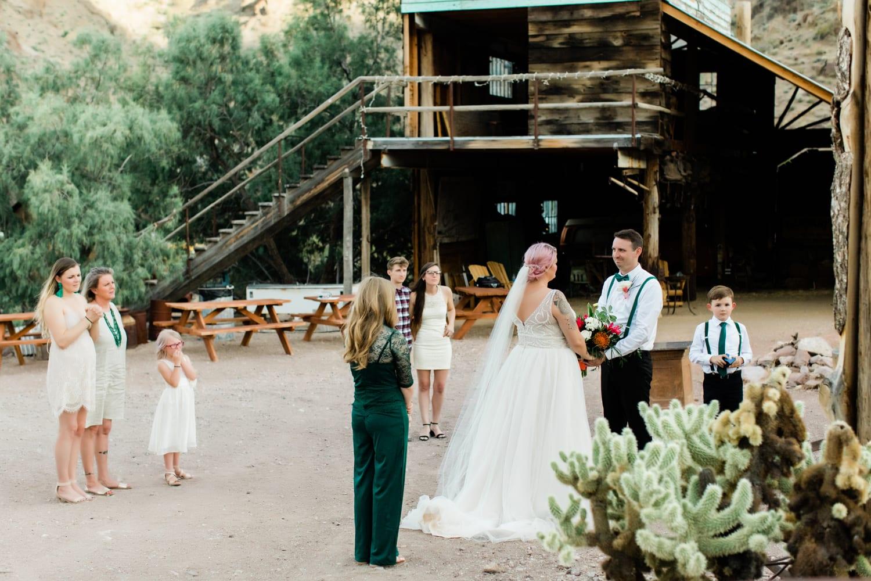 Hayley + Andrew wedding ceremony at Eldorado Canyon.