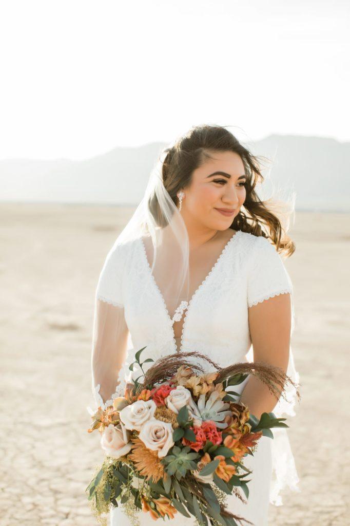 Kerrigan posing with her bouquet.