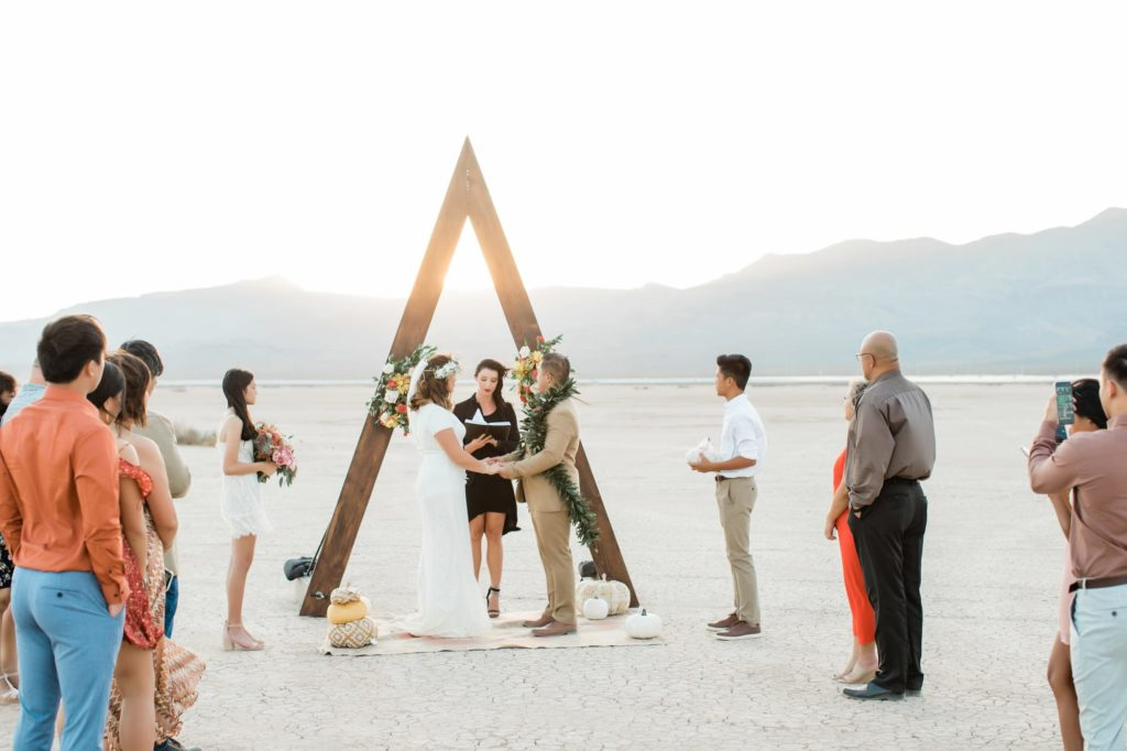 Kerrigan and Trevor's ceremony at the Dry Lake Bed.