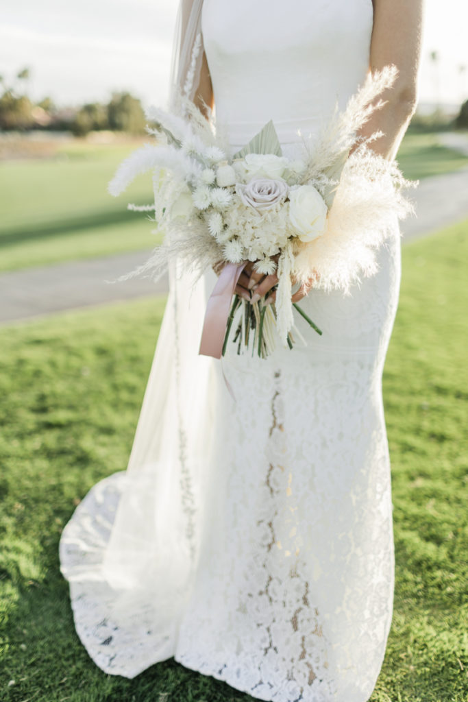 White dried floral bouquet.