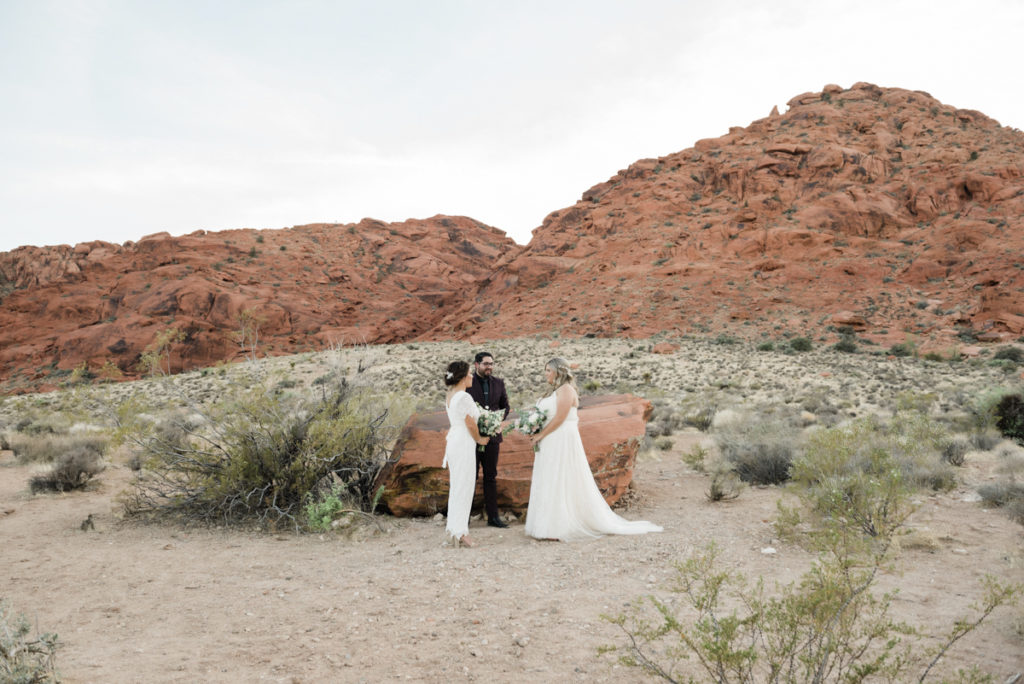 Couple ceremony with stunning mountain background.