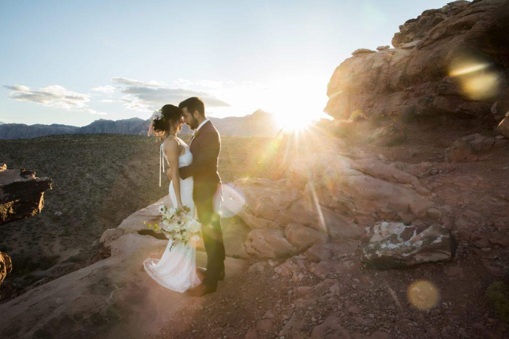 Sunsetting photo on newlywed couple