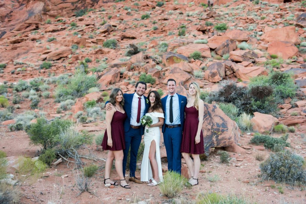Family photo at wedding against mountain landscape